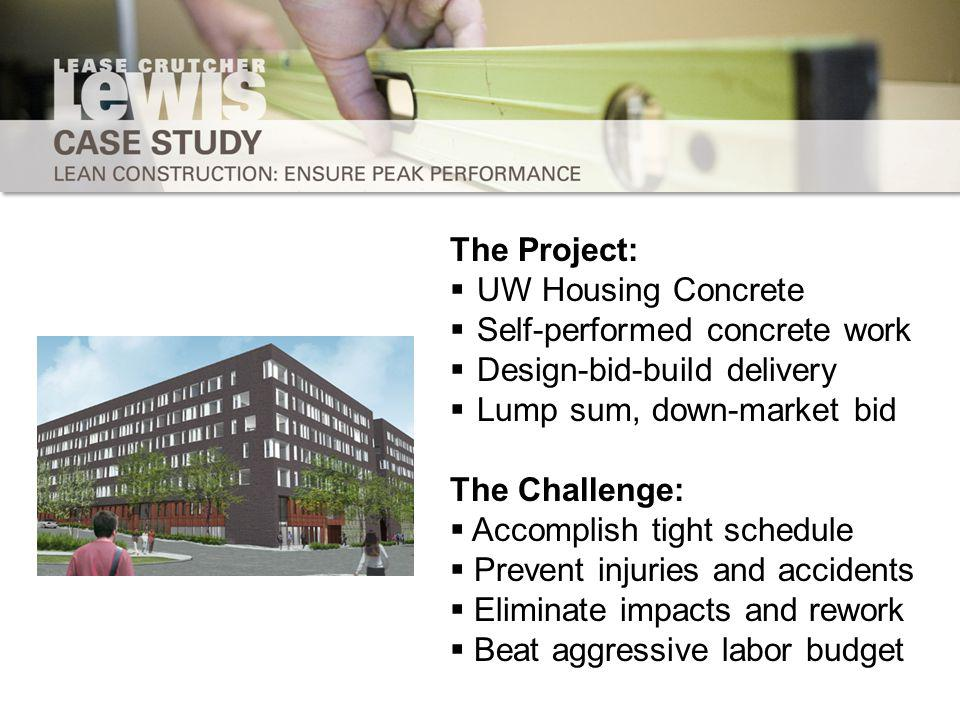 The Project: UW Housing Concrete Self-performed concrete work Design-bid-build delivery Lump sum, down-market bid The Challenge: Accomplish tight schedule Prevent injuries and accidents Eliminate impacts and rework Beat aggressive labor budget