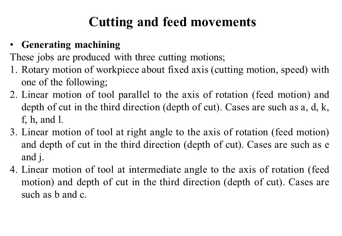 Generating machining These jobs are produced with three cutting motions; 1.Rotary motion of workpiece about fixed axis (cutting motion, speed) with on