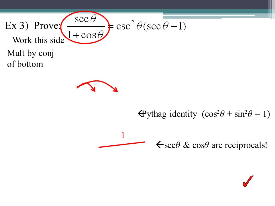 Ex 3) Prove: Work this side Mult by conj of bottom secθ & cosθ are reciprocals.