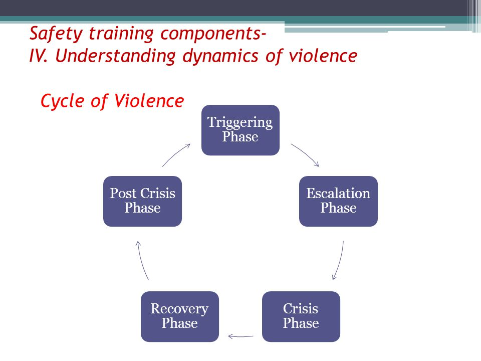 Safety training components- IV. Understanding dynamics of violence Cycle of Violence Triggering Phase Escalation Phase Crisis Phase Recovery Phase Pos
