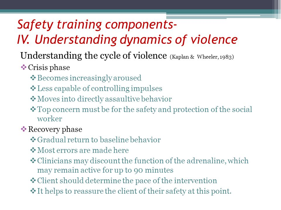 Safety training components- IV. Understanding dynamics of violence Understanding the cycle of violence (Kaplan & Wheeler, 1983) Crisis phase Becomes i