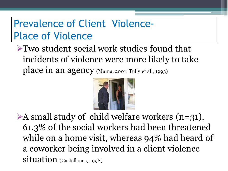 Prevalence of Client Violence- Place of Violence Two student social work studies found that incidents of violence were more likely to take place in an