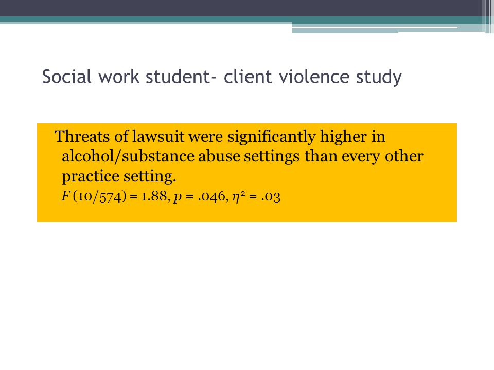Social work student- client violence study Threats of lawsuit were significantly higher in alcohol/substance abuse settings than every other practice