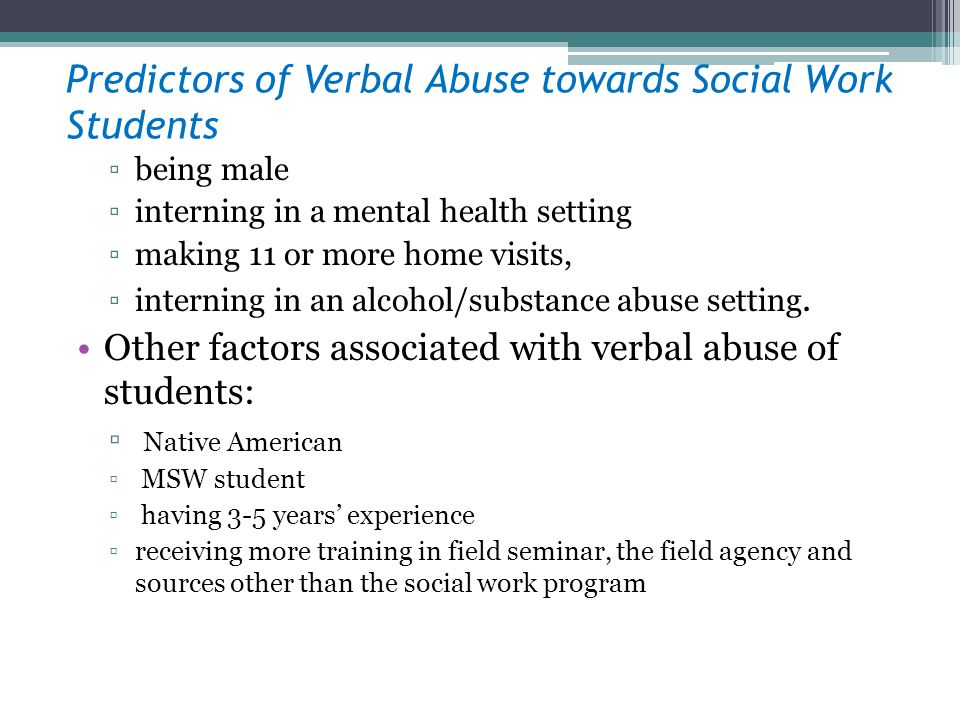 Predictors of Verbal Abuse towards Social Work Students being male interning in a mental health setting making 11 or more home visits, interning in an
