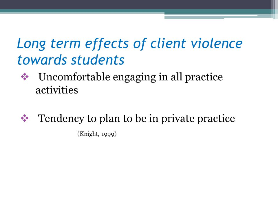 Long term effects of client violence towards students Uncomfortable engaging in all practice activities Tendency to plan to be in private practice (Kn