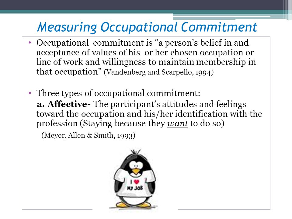 Measuring Occupational Commitment Occupational commitment is a persons belief in and acceptance of values of his or her chosen occupation or line of work and willingness to maintain membership in that occupation (Vandenberg and Scarpello, 1994) Three types of occupational commitment: a.