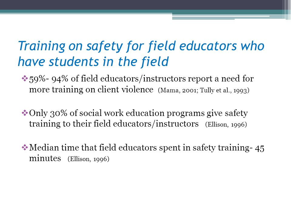 Training on safety for field educators who have students in the field 59%- 94% of field educators/instructors report a need for more training on clien