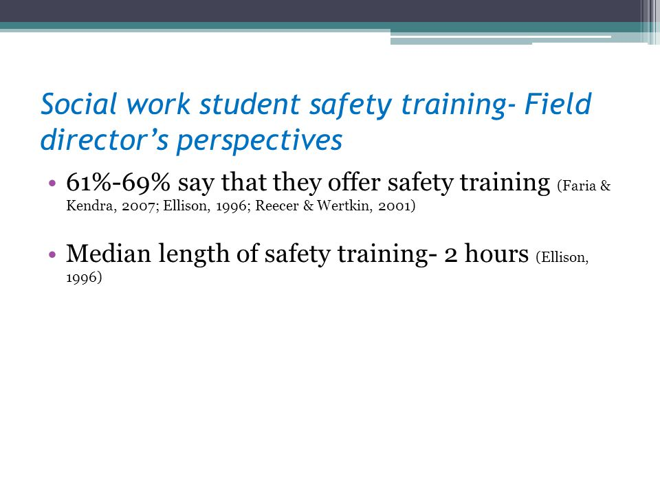 Social work student safety training- Field directors perspectives 61%-69% say that they offer safety training (Faria & Kendra, 2007; Ellison, 1996; Re