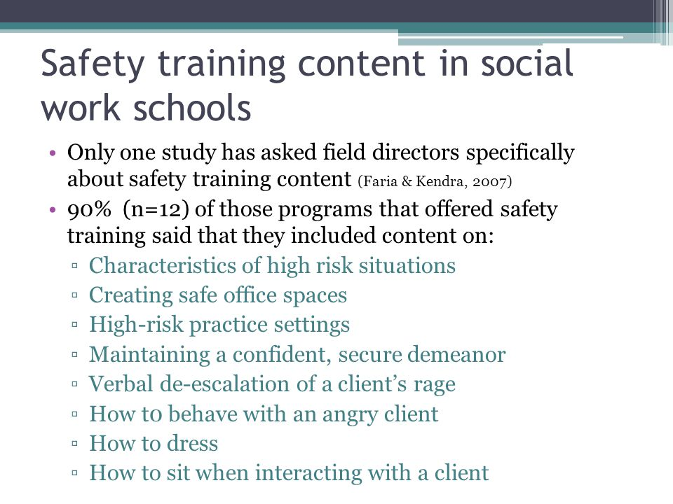 Safety training content in social work schools Only one study has asked field directors specifically about safety training content (Faria & Kendra, 2007) 90% (n=12) of those programs that offered safety training said that they included content on: Characteristics of high risk situations Creating safe office spaces High-risk practice settings Maintaining a confident, secure demeanor Verbal de-escalation of a clients rage How t0 behave with an angry client How to dress How to sit when interacting with a client