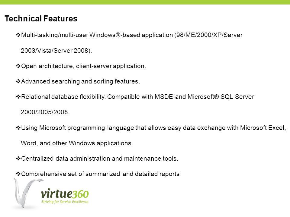 Multi-tasking/multi-user Windows®-based application (98/ME/2000/XP/Server 2003/Vista/Server 2008).