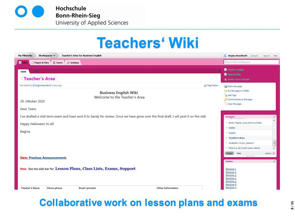 Collaborative work on lesson plans and exams Teachers Wiki 9 / 15