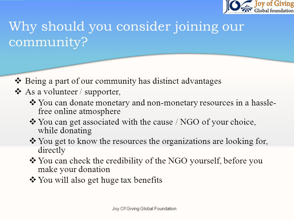 Why should you consider joining our community.