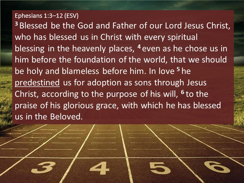 Ephesians 1:3–12 (ESV) 3 Blessed be the God and Father of our Lord Jesus Christ, who has blessed us in Christ with every spiritual blessing in the heavenly places, 4 even as he chose us in him before the foundation of the world, that we should be holy and blameless before him.