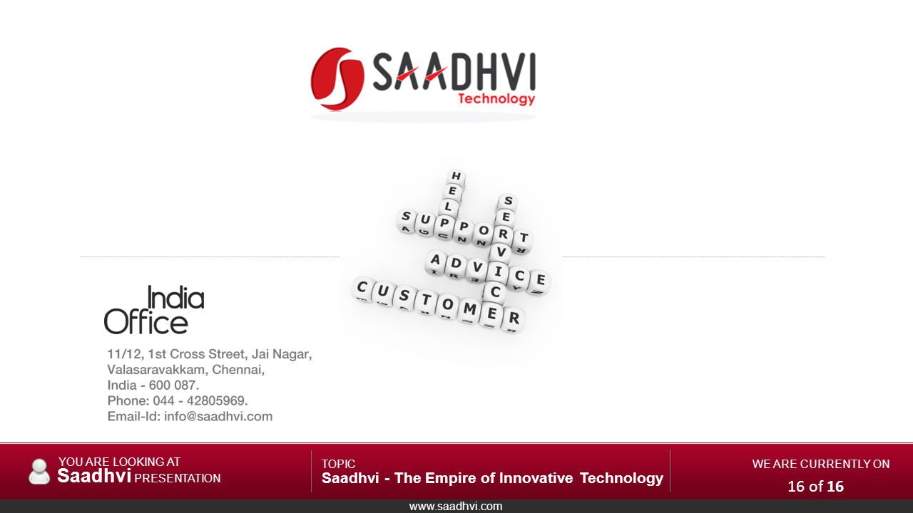 www.saadhvi.com YOU ARE LOOKING AT Saadhvi PRESENTATION TOPIC Saadhvi - The Empire of Innovative Technology WE ARE CURRENTLY ON 16 of 16