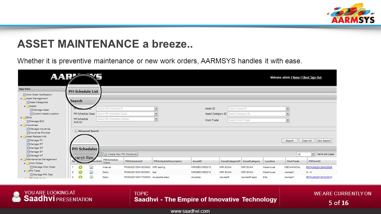 www.saadhvi.com YOU ARE LOOKING AT Saadhvi PRESENTATION TOPIC Saadhvi - The Empire of Innovative Technology WE ARE CURRENTLY ON Whether it is preventive maintenance or new work orders, AARMSYS handles it with ease.