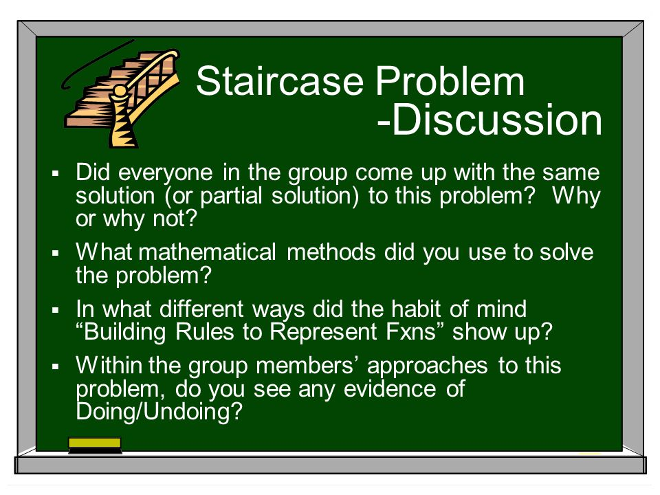 -Discussion Did everyone in the group come up with the same solution (or partial solution) to this problem.