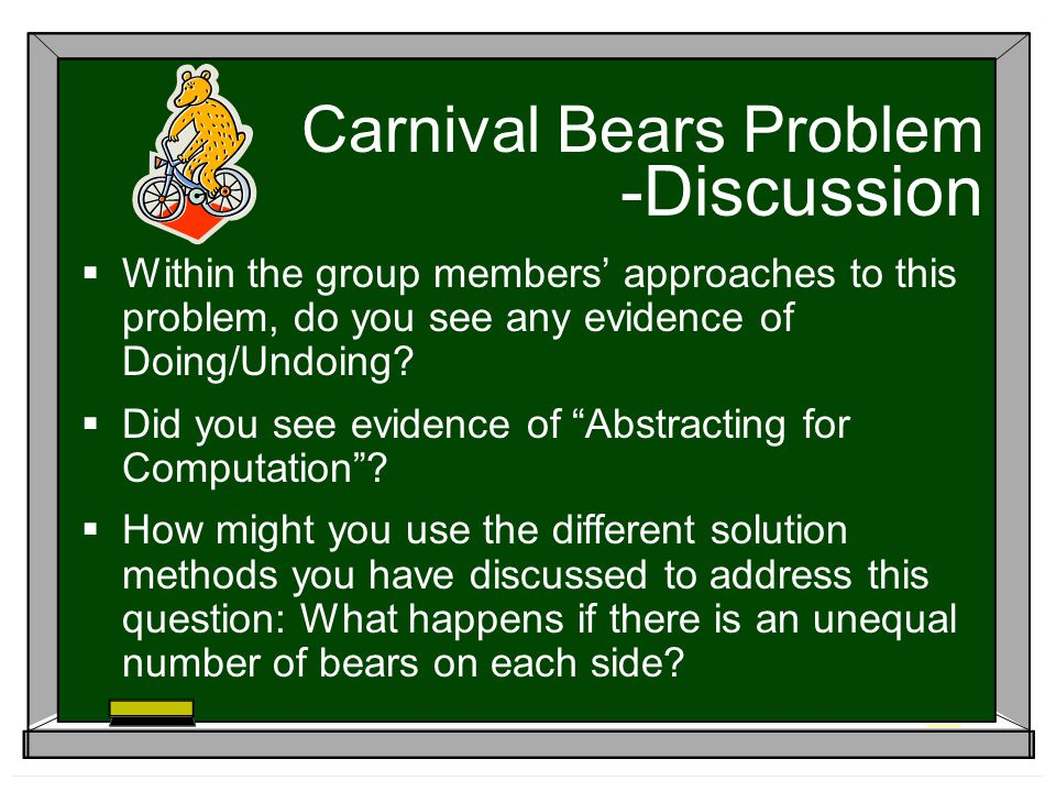 -Discussion Carnival Bears Problem Within the group members approaches to this problem, do you see any evidence of Doing/Undoing.