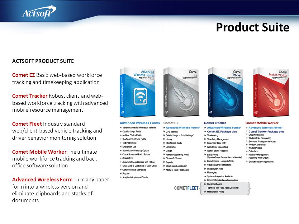 Product Suite ACTSOFT PRODUCT SUITE Comet EZ Basic web-based workforce tracking and timekeeping application Comet Tracker Robust client and web- based