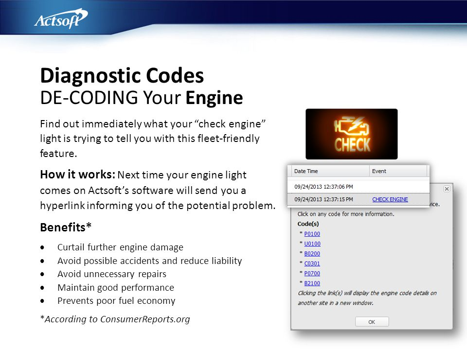 Diagnostic Codes DE-CODING Your Engine Find out immediately what your check engine light is trying to tell you with this fleet-friendly feature. How i