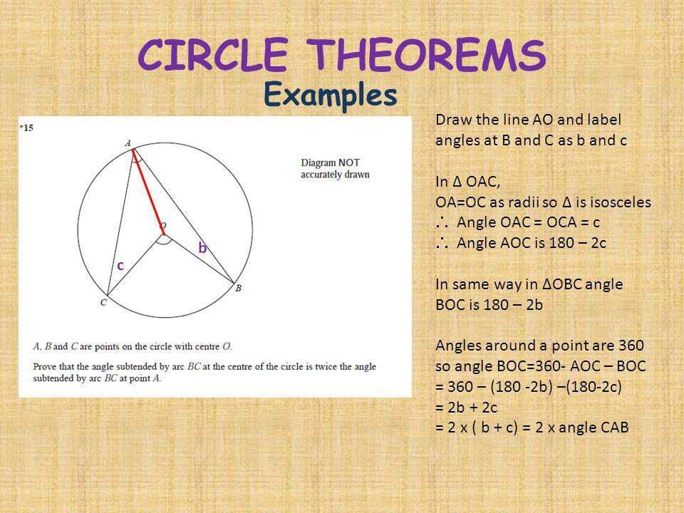 CIRCLE THEOREMS Examples Draw the line AO and label angles at B and C as b and c In Δ OAC, OA=OC as radii so Δ is isosceles Angle OAC = OCA = c Angle