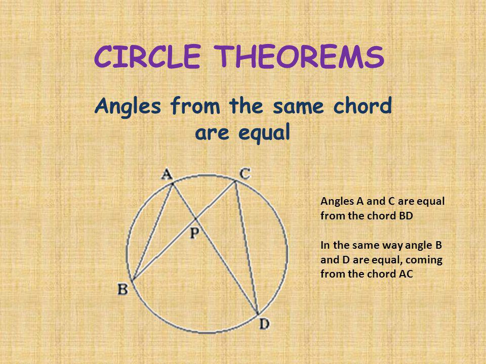 CIRCLE THEOREMS Angles from the same chord are equal Angles A and C are equal from the chord BD In the same way angle B and D are equal, coming from t