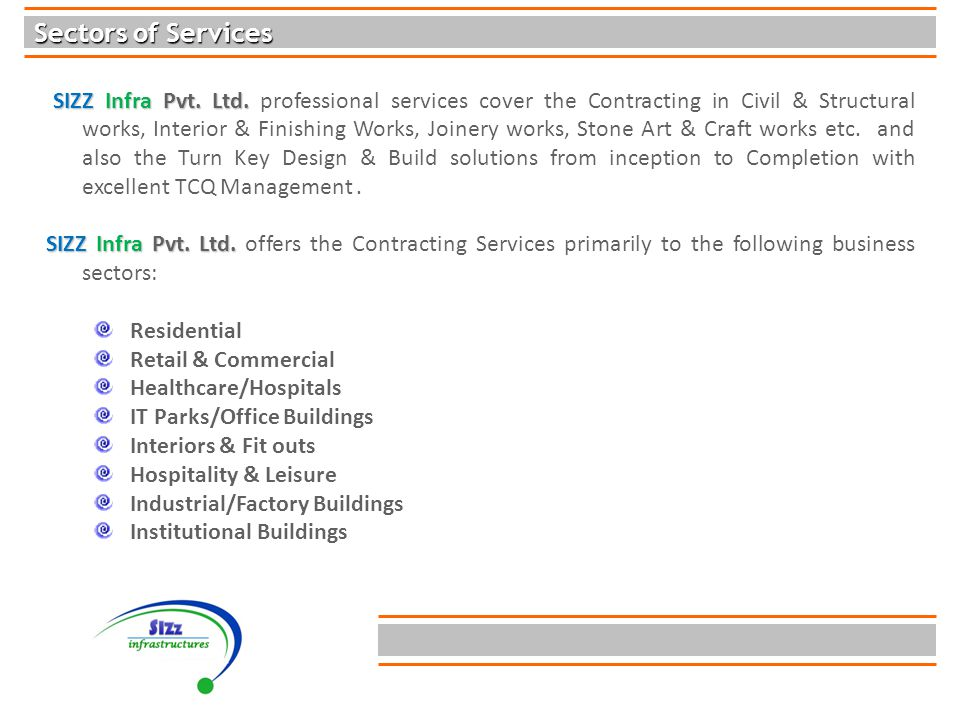 Sectors of Services SIZZ Infra Pvt. Ltd. SIZZ Infra Pvt.