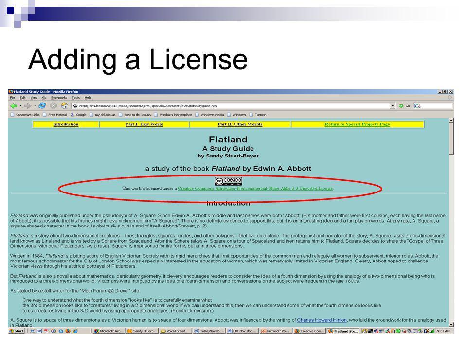 Adding a License