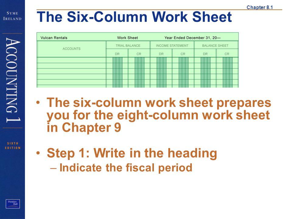 Chapter 8.1 The Six-Column Work Sheet The six-column work sheet prepares you for the eight-column work sheet in Chapter 9 Step 1 Step 1: Write in the