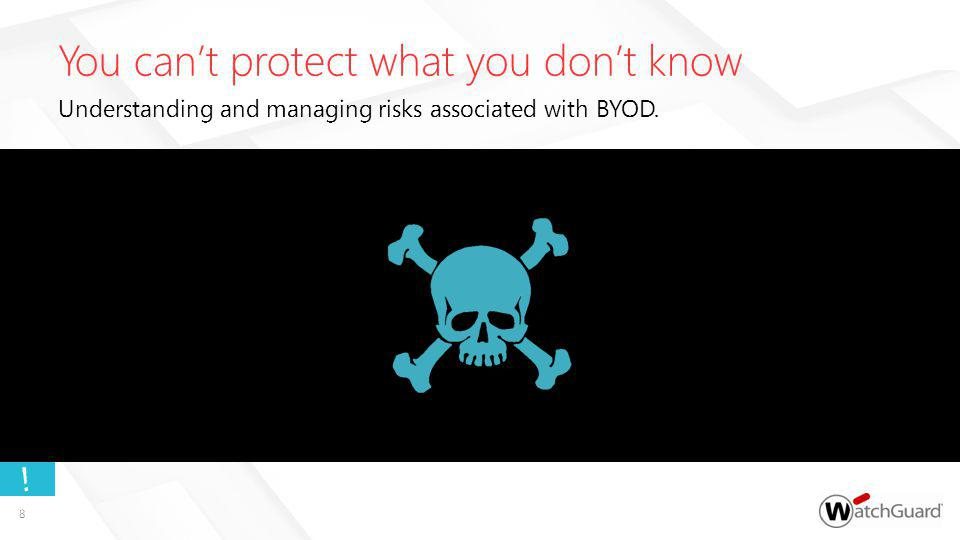 You cant protect what you dont know Understanding and managing risks associated with BYOD. ! 8