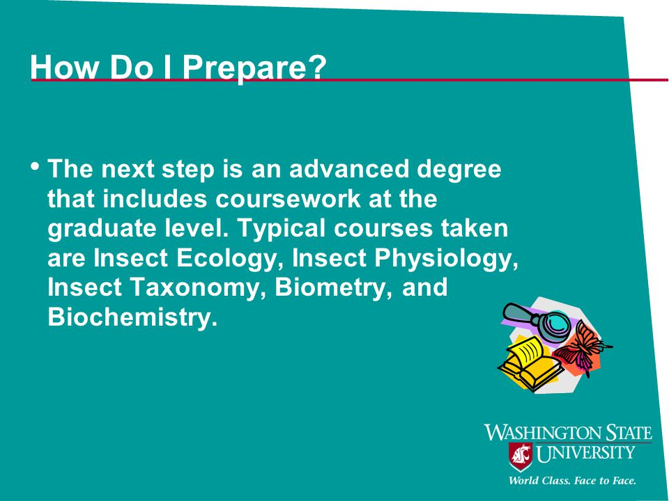 How Do I Prepare? The next step is an advanced degree that includes coursework at the graduate level. Typical courses taken are Insect Ecology, Insect