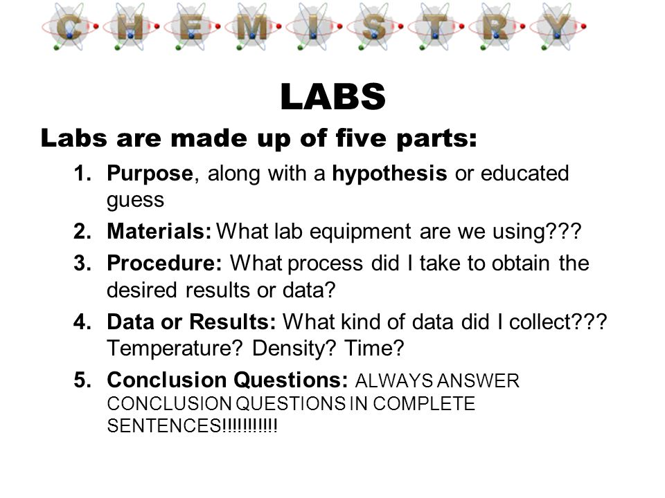 Labs are made up of five parts: 1.Purpose, along with a hypothesis or educated guess 2.Materials: What lab equipment are we using??? 3.Procedure: What