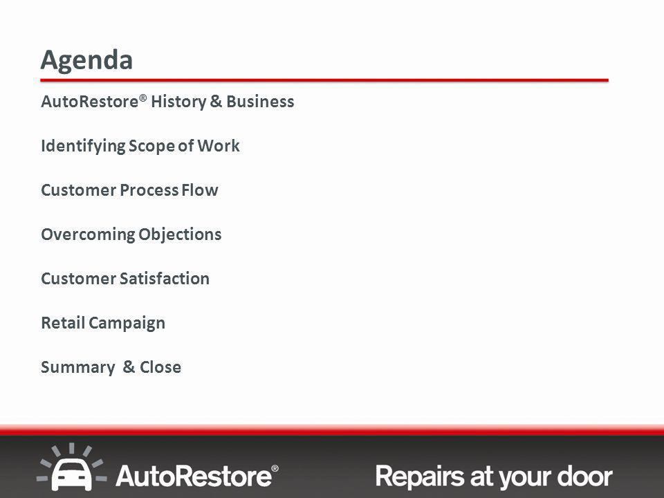Agenda AutoRestore® History & Business Identifying Scope of Work Customer Process Flow Overcoming Objections Customer Satisfaction Retail Campaign Summary & Close