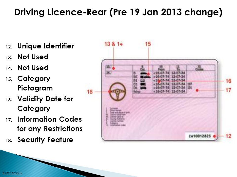 Driving Licence-Rear (Post 19 Jan 2013 change) © Les Kelly 2010
