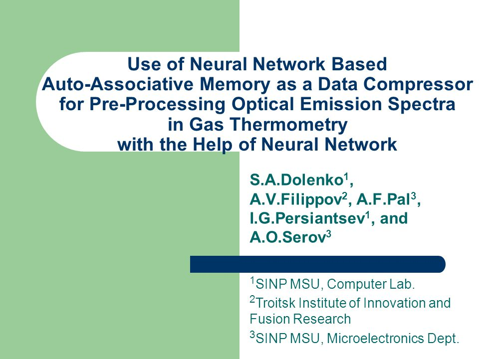 Use of Neural Network Based Auto-Associative Memory as a Data Compressor for Pre-Processing Optical Emission Spectra in Gas Thermometry with the Help
