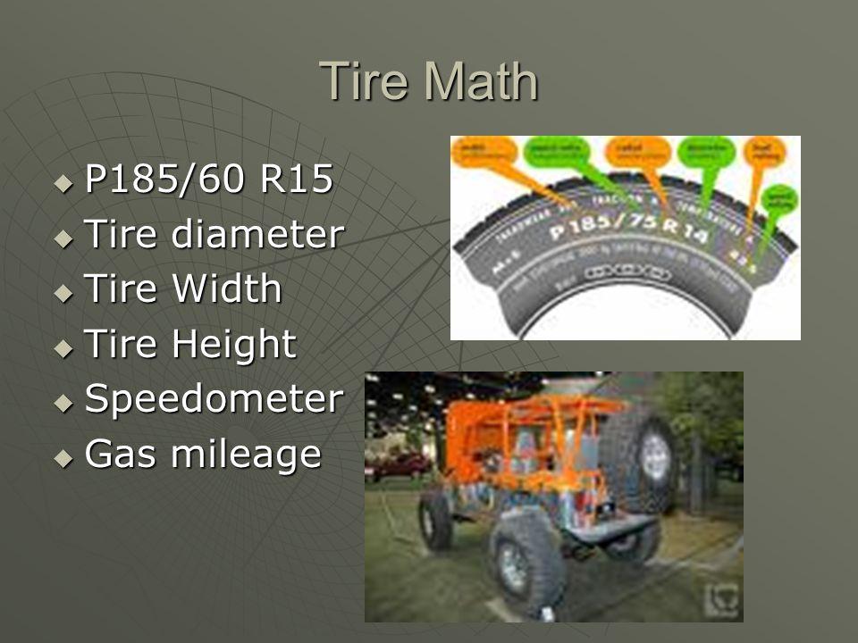 Tire Math P185/60 R15 P185/60 R15 Tire diameter Tire diameter Tire Width Tire Width Tire Height Tire Height Speedometer Speedometer Gas mileage Gas mileage