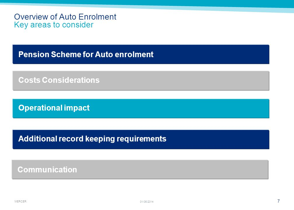 MERCER 7 01/06/2014 Overview of Auto Enrolment Key areas to consider Operational impact Pension Scheme for Auto enrolment Costs Considerations Additional record keeping requirements Communication