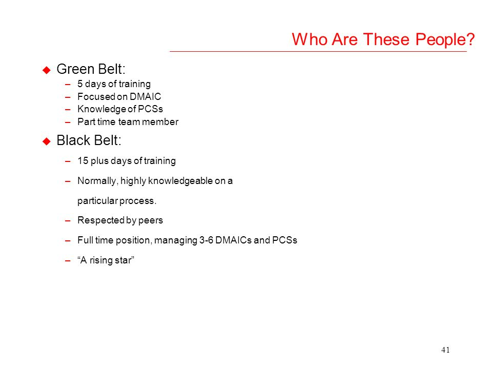 40 Black Belt / Green Belt Coach/ MBB Project Target Y Financial Reviewer Organisation Six Sigma Structure Define clear roles of the people