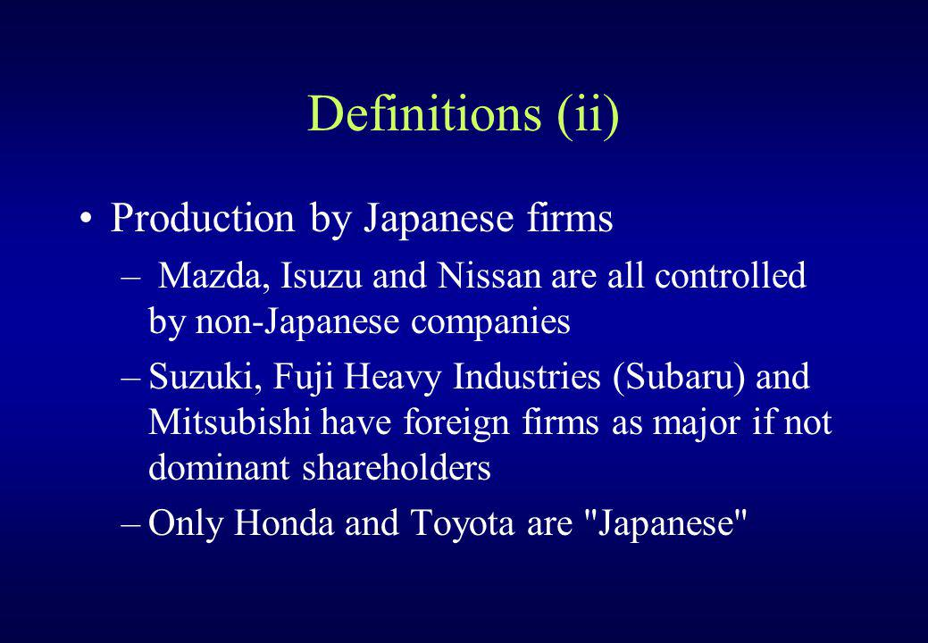 Definitions (ii) Production by Japanese firms – Mazda, Isuzu and Nissan are all controlled by non-Japanese companies –Suzuki, Fuji Heavy Industries (S
