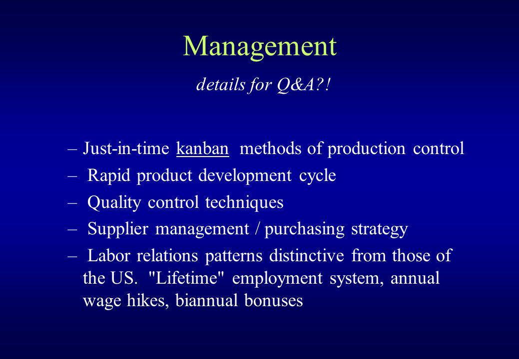 Management details for Q&A?.