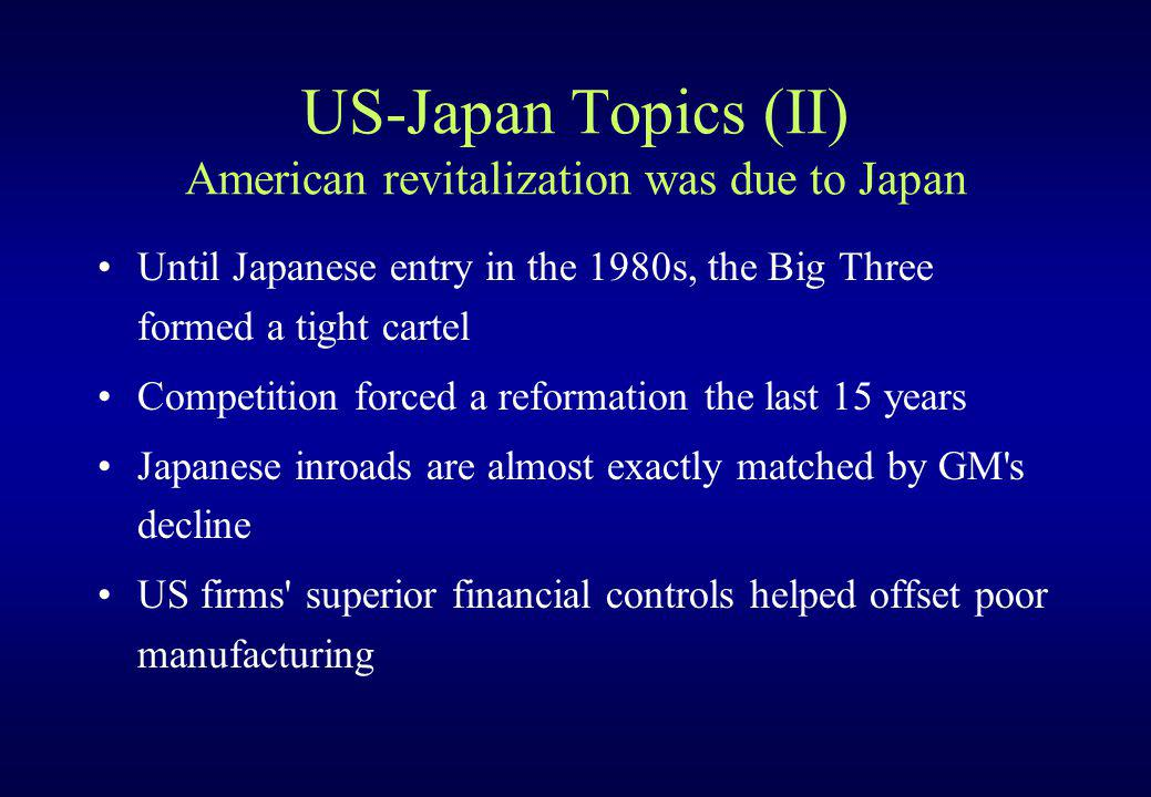 US-Japan Topics (II) American revitalization was due to Japan Until Japanese entry in the 1980s, the Big Three formed a tight cartel Competition force