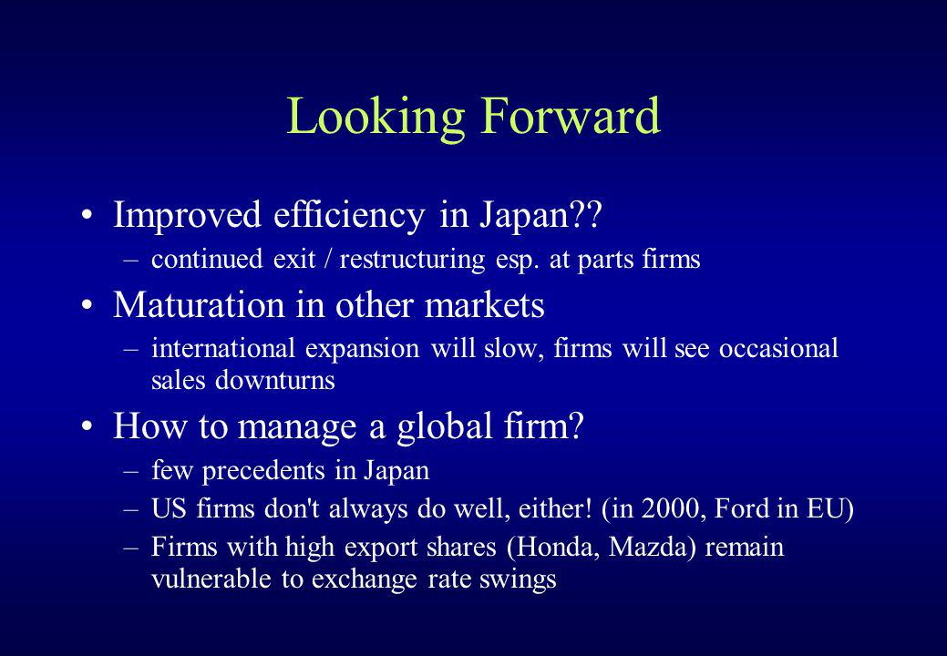 Looking Forward Improved efficiency in Japan?? –continued exit / restructuring esp. at parts firms Maturation in other markets –international expansio