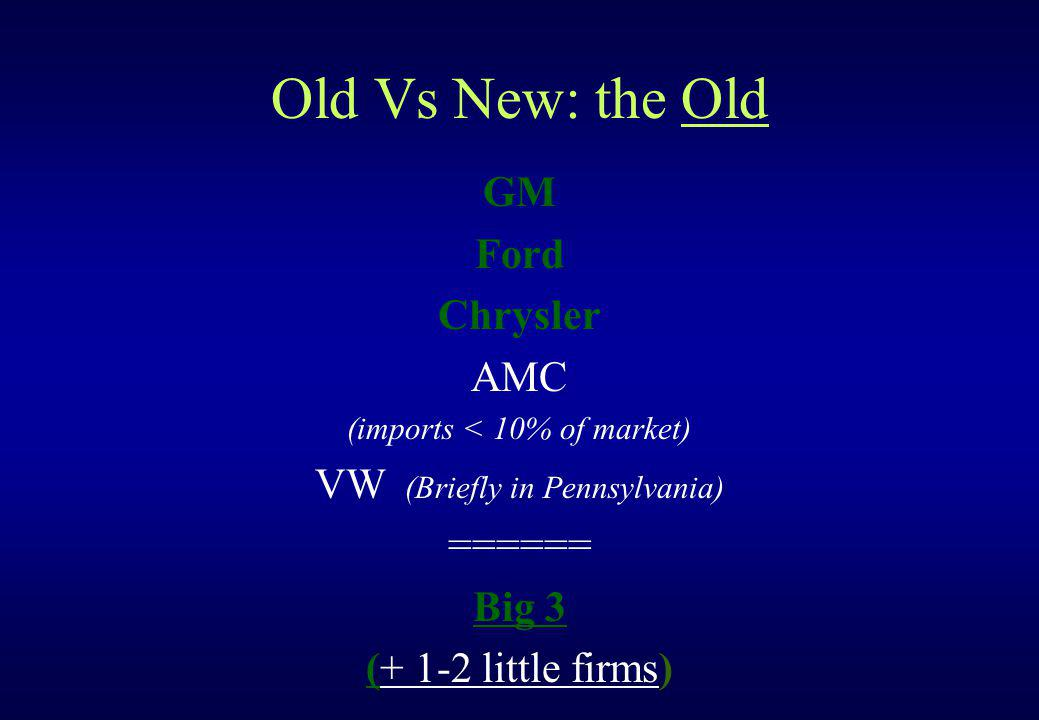 Old Vs New: the Old GM Ford Chrysler AMC (imports < 10% of market) VW (Briefly in Pennsylvania) ====== Big 3 (+ 1-2 little firms)