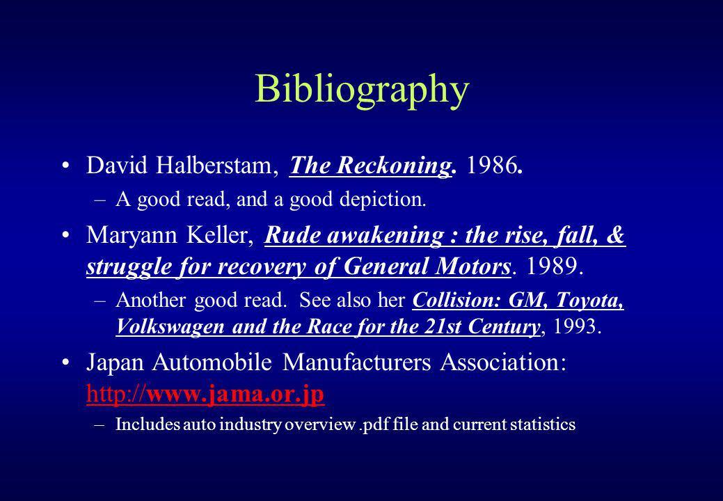 Bibliography David Halberstam, The Reckoning. 1986.