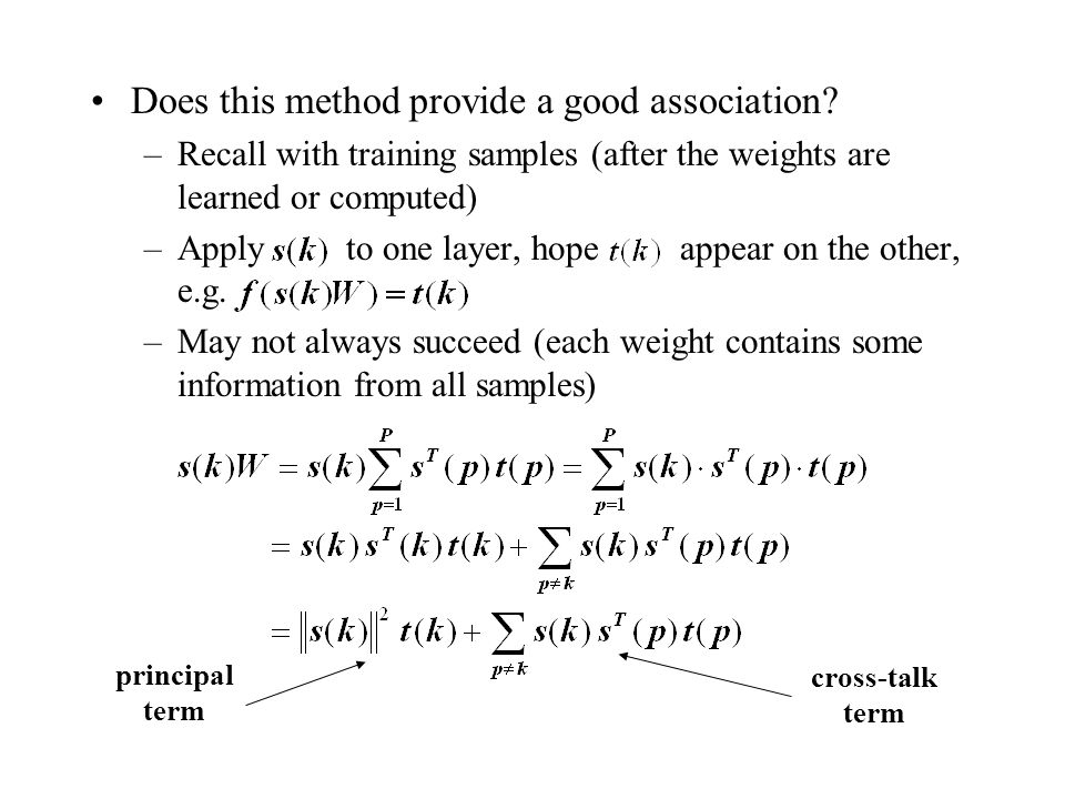 Does this method provide a good association? –Recall with training samples (after the weights are learned or computed) –Apply to one layer, hope appea