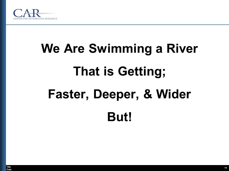 Title Date 14 We Are Swimming a River That is Getting; Faster, Deeper, & Wider But!