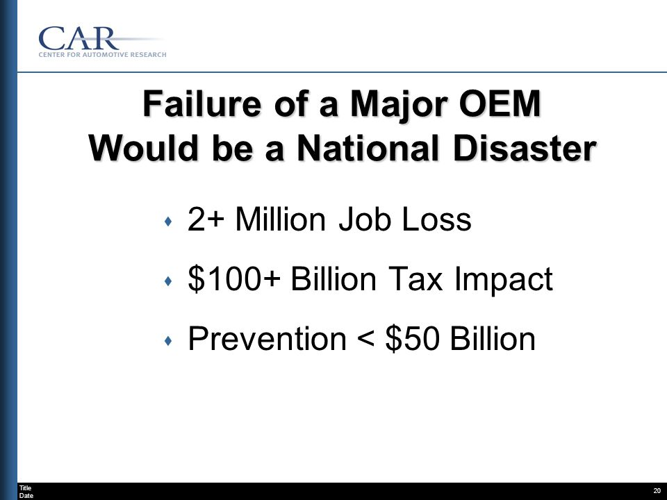 Title Date 20 Failure of a Major OEM Would be a National Disaster s 2+ Million Job Loss s $100+ Billion Tax Impact s Prevention < $50 Billion