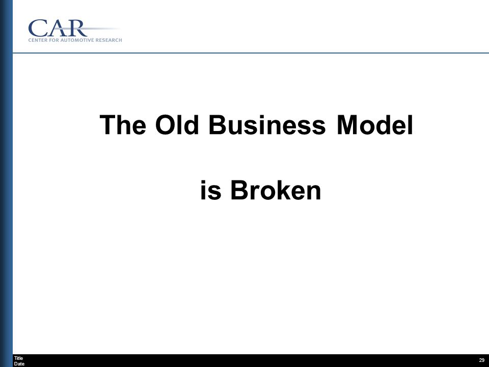 Title Date 29 The Old Business Model is Broken