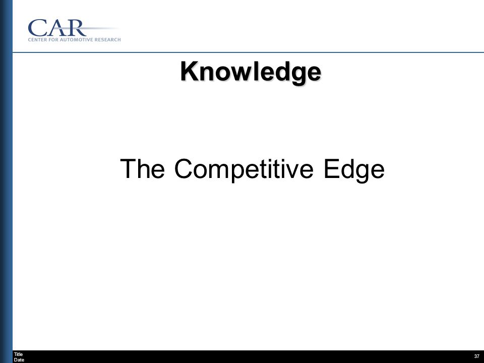 Title Date 37 Knowledge The Competitive Edge