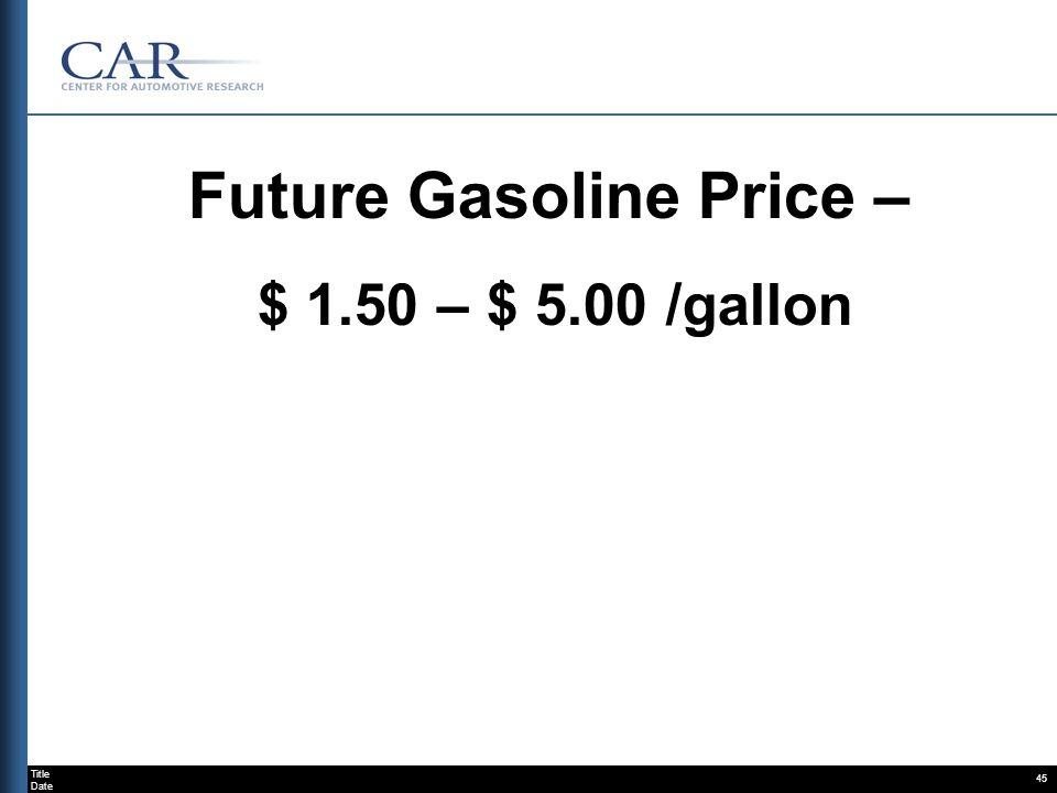 Title Date 45 Future Gasoline Price – $ 1.50 – $ 5.00 /gallon