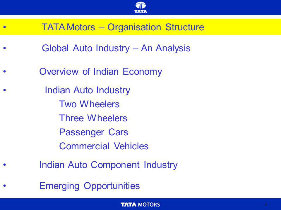 2 Global Auto Industry – An Analysis Indian Auto Industry Two Wheelers Three Wheelers Passenger Cars Commercial Vehicles Indian Auto Component Industry Emerging Opportunities Overview of Indian Economy TATA Motors – Organisation Structure